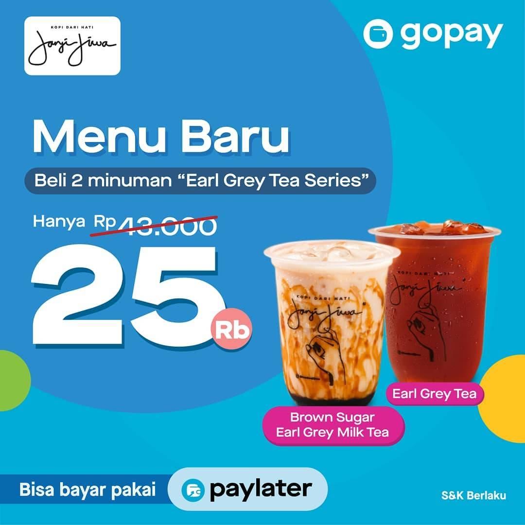 """Kopi Janji Jiwa Promo Beli Minuman """"Earl Grey Tea Series"""" Hanya Rp. 25.000 Dengan Gopay"""