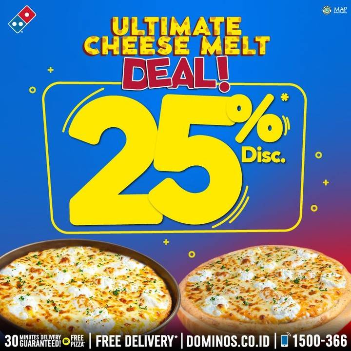 Domino's Pizza Promo Diskon 25% Untuk Ultimate Cheese Melt Pizza