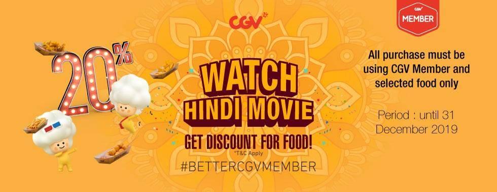 CGV Cinema Promo Nonton Film Hindi Dapat Diskon 20% Untuk Makanan