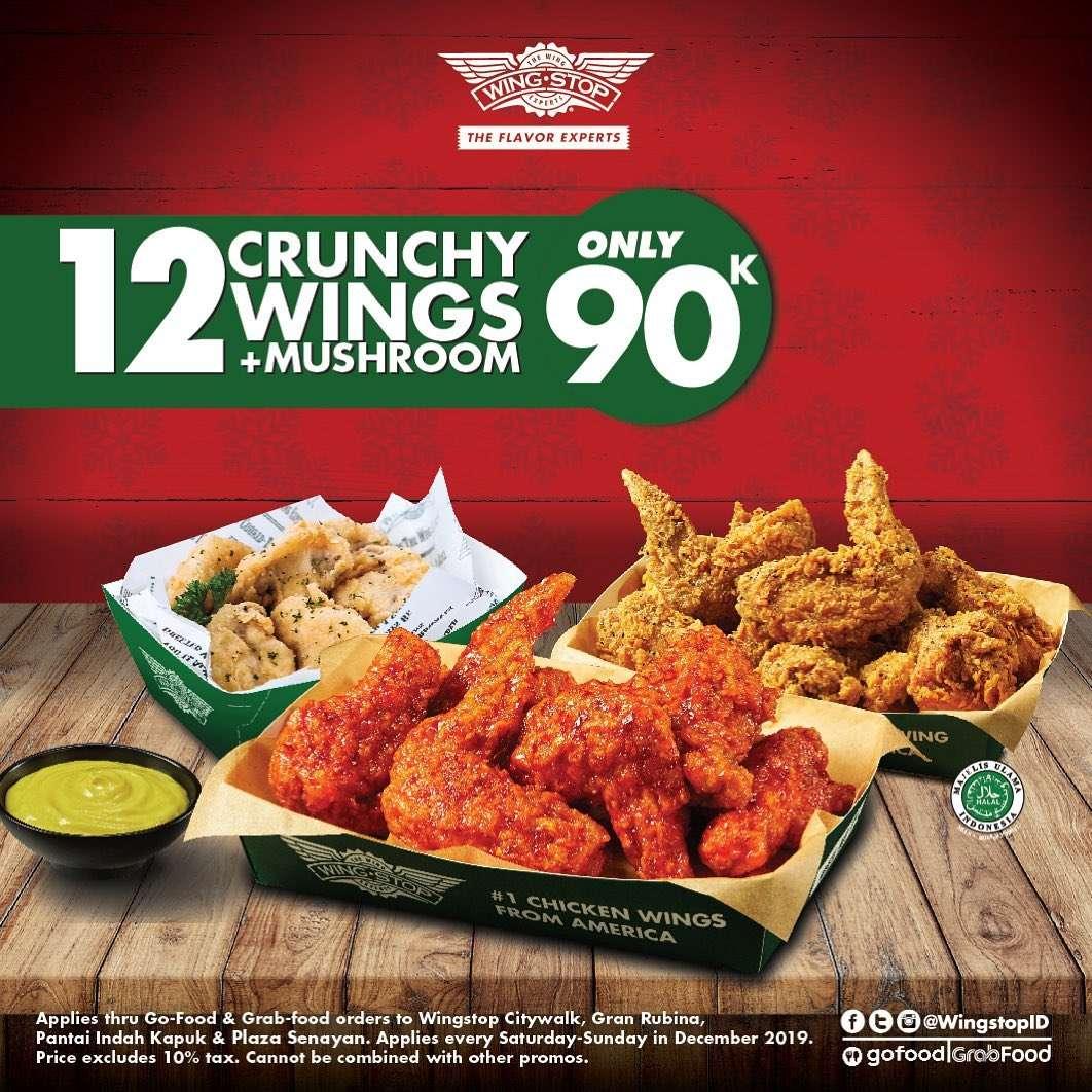 Wingstop Promo Harga Spesial Paket 12 Crunchy Wings + Mushroom Hanya Rp 90.000