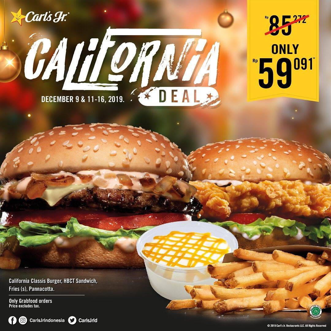 California Classic Burger, Hand-Breaded Chicken Tender Sandwich, Fries, Dan Pannacotta Hanya Rp 59.0
