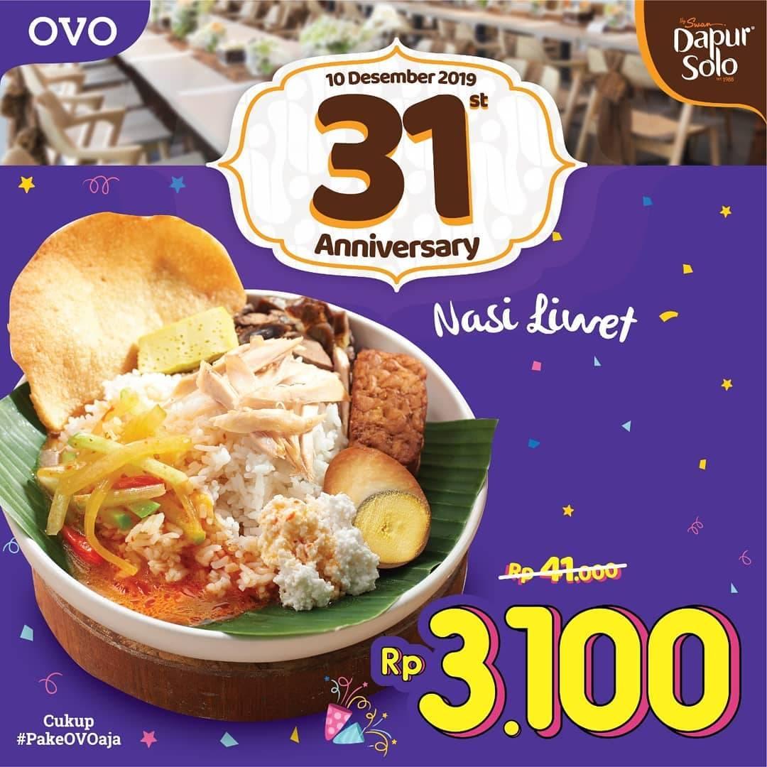 Dapur Solo Promo Spesial Ulang Tahun Beli Menu Pilihan Hanya Rp. 3.100