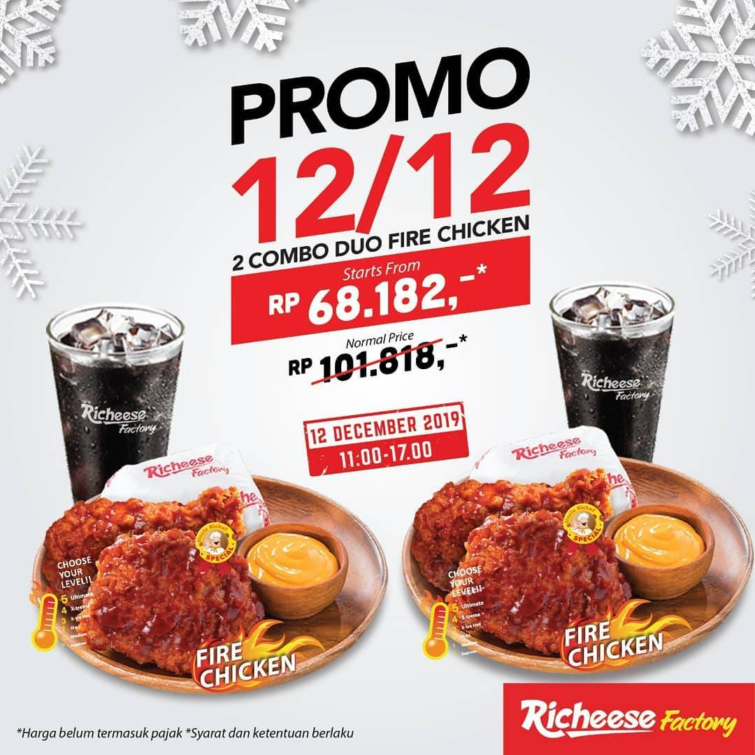 Richeese Factory Promo 12.12 Get 2 Combo Fire Chicken Starts From Rp 68.182