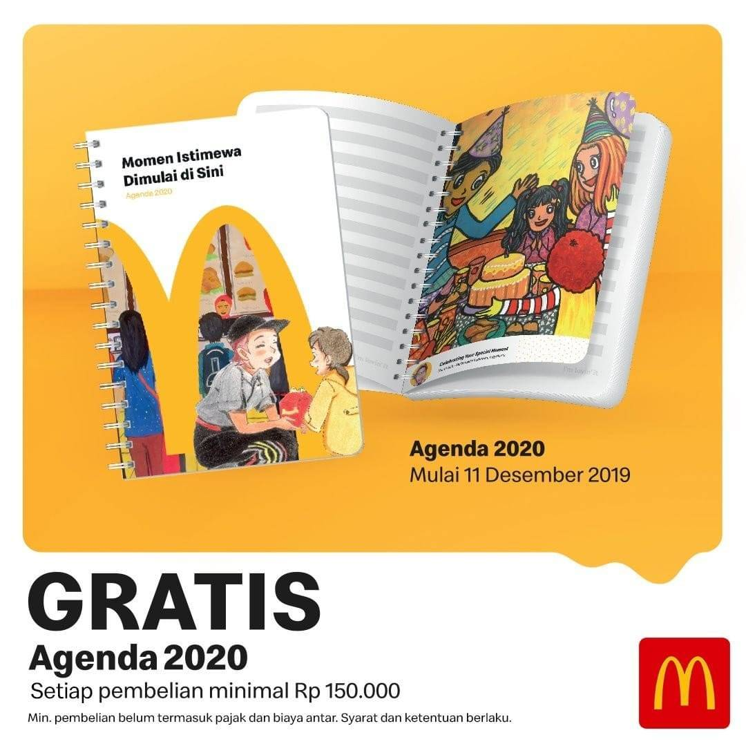 McDonalds Promo Gratis Agenda 2020