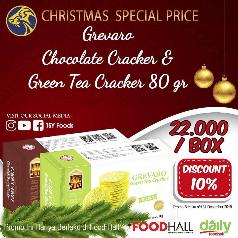 The Food Hall Diskon 10% Untuk Pembelian Grevaro Chocolate & Green Tea Cracker  80 gr ( Box)