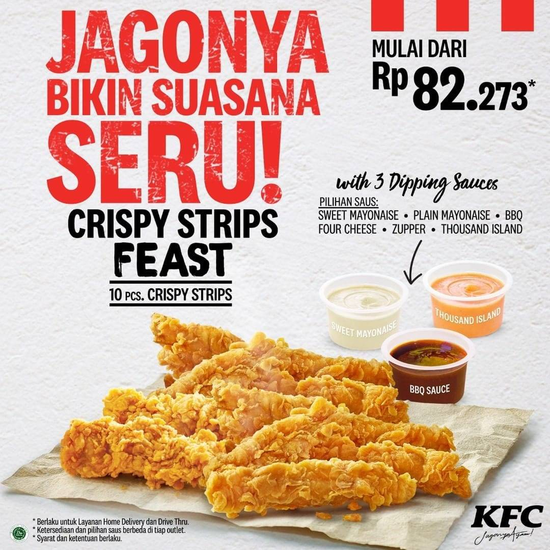 KFC Promo Paket Menu KFC Crispy Strips Feast, Harga Mulai Rp. 82 Ribuan!