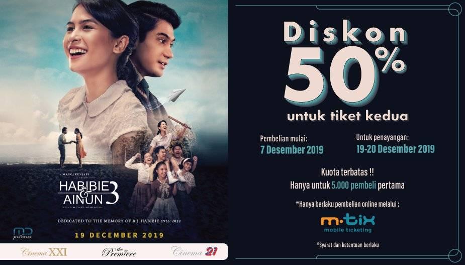 Cinema XXI Promo Nonton Hemat Habibie Dan Ainun 3, Diskon 50%!