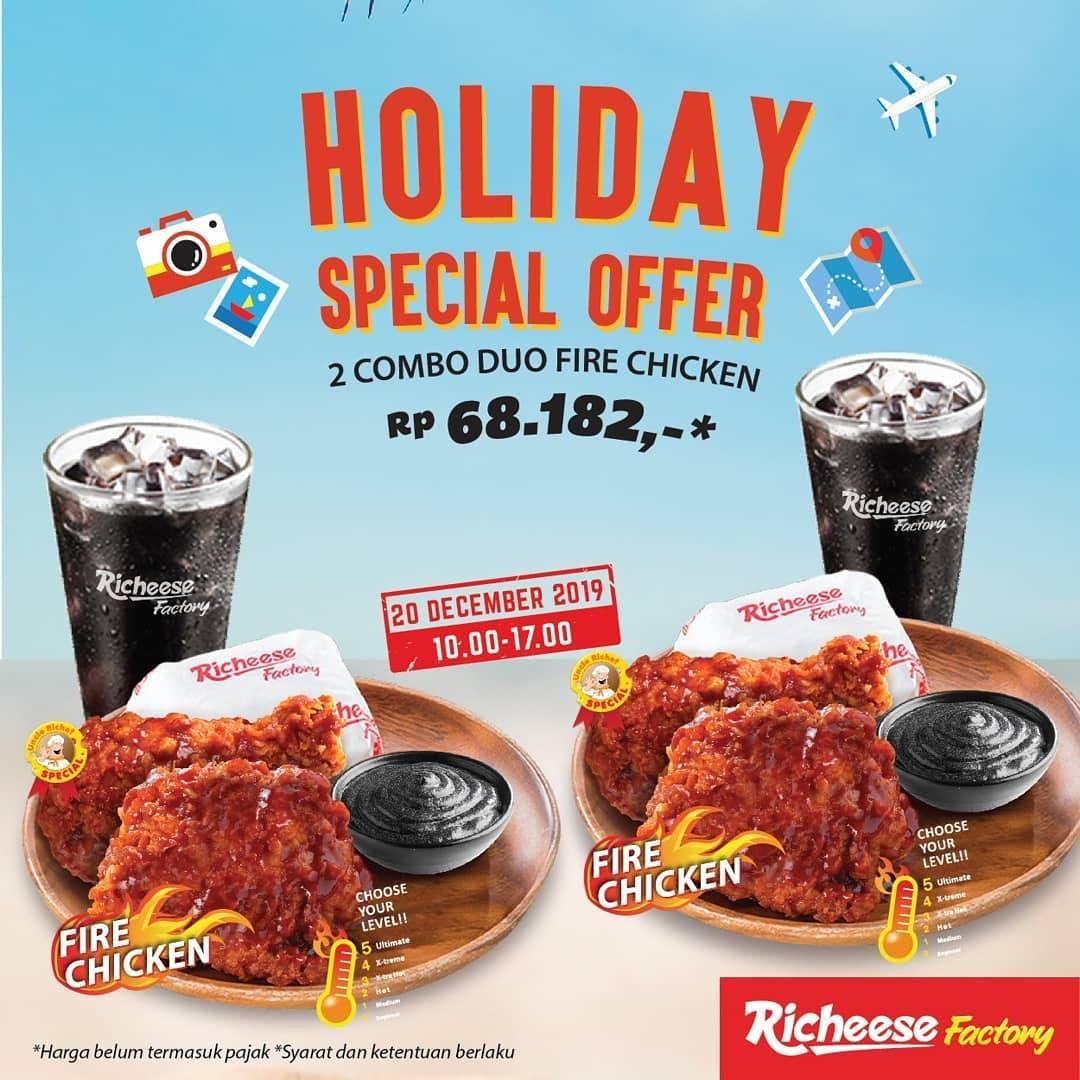 Richeese Factory Promo Happy Holiday, Beli 2 Paket Combo Duo Fire Chicken Dengan Harga Spesial!