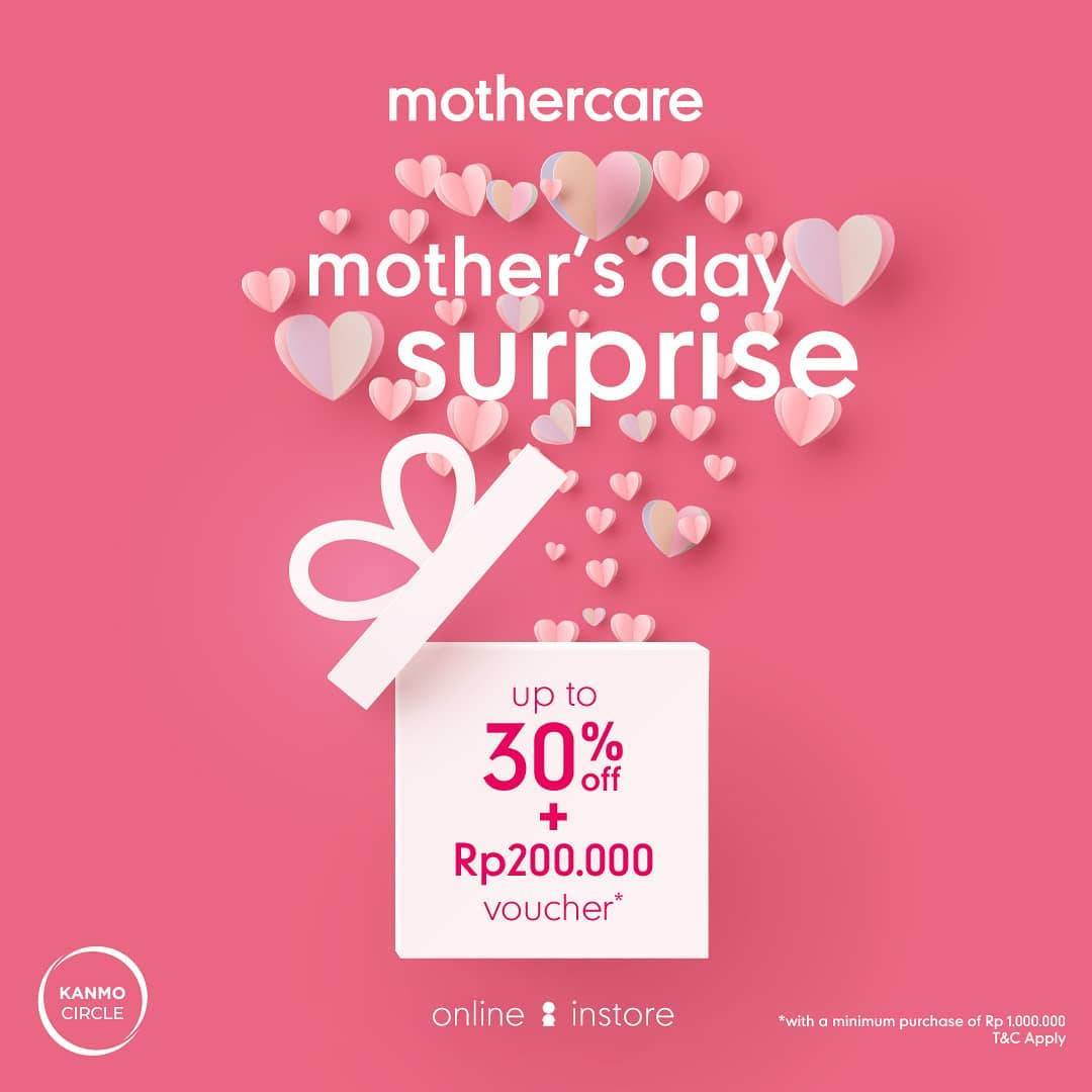 Mothercare Mother's Day Surprise Discount Up To 30% Off + Rp 200.000 Voucher