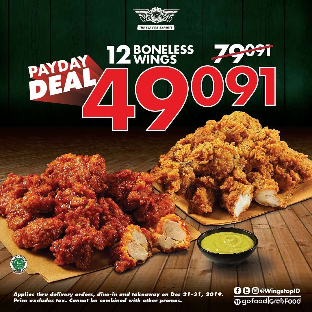 Wingstop Payday Deal Paket 12 Boneless Wings Cuma Rp. 49.091