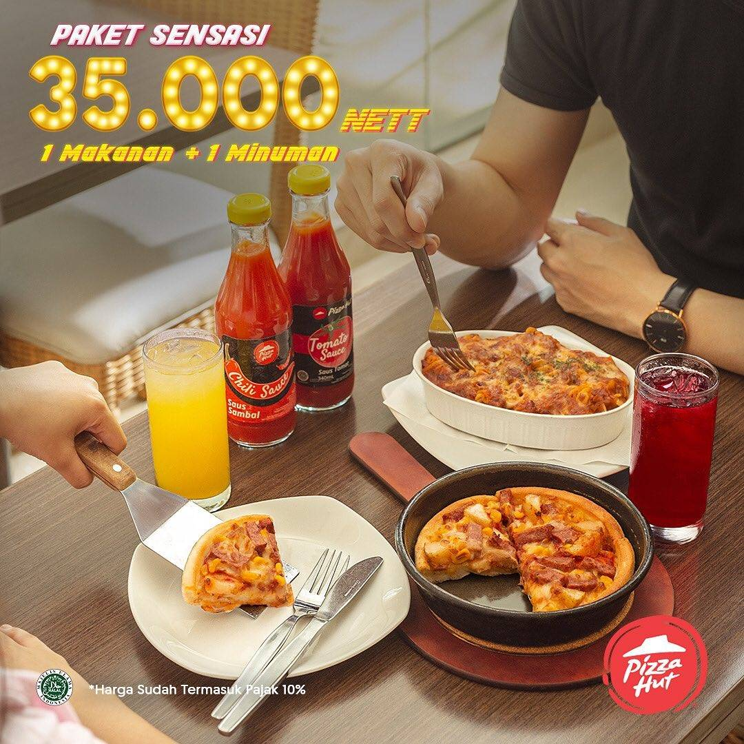 Diskon Pizza Hut Promo Paket Sensasi, Paket 1 Makanan + 1 Minuman Cuma Rp. 35.000