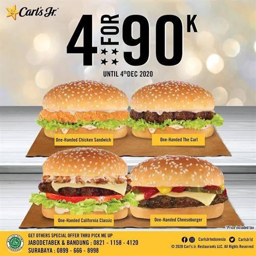 Diskon Carls Jr Burger Party Check - 4 Burgers For IDR. 90.000