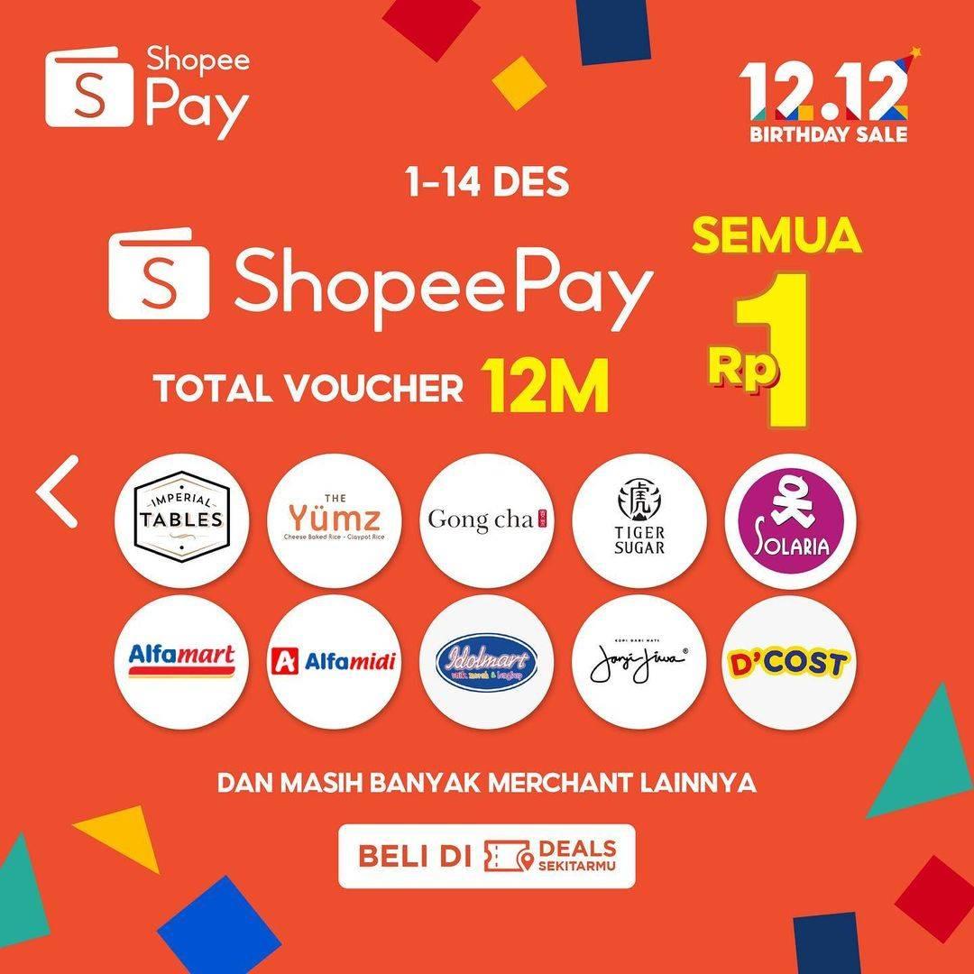 Promo diskon Shopeepay Voucher Diskon Rp. 1 Di 12 Merchants