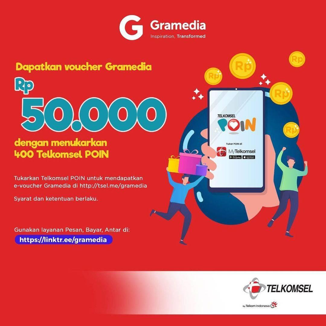 Diskon Gramedia Voucher Rp. 50.000 Dengan Tukar 400 Poin Telkomsel