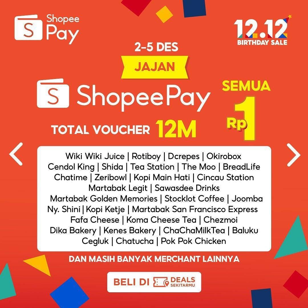 Promo diskon Shopeepay Promo Voucher Jajan Rp. 1 Di Merchant Pilihan