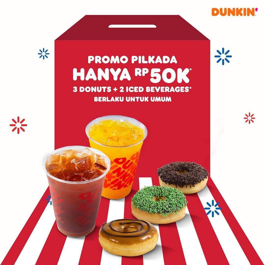 Diskon Dunkin Donuts Promo Pilkada - 3 Donuts + 2 beverages Hanya Rp. 50.000