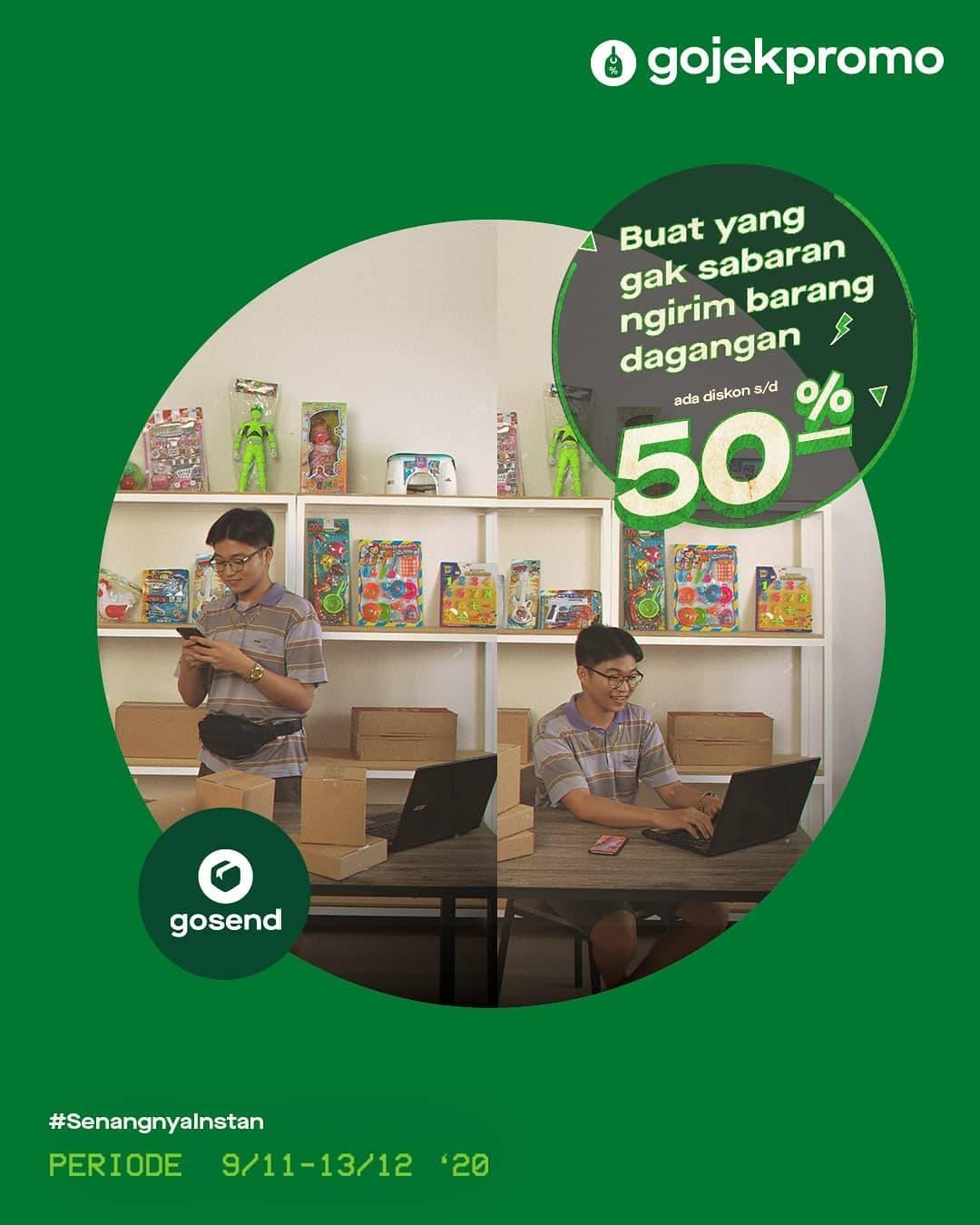 Diskon Gojek Diskon 50% Pakai Gosend Web Portal & Selly