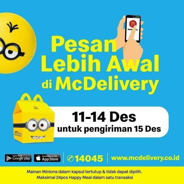 Promo diskon McDonalds Promo Pesan Lebih Awal Happy Meal Minions
