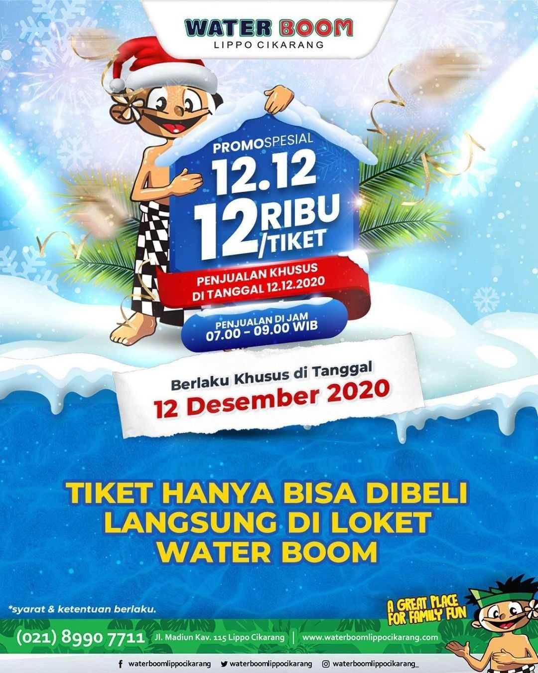 Diskon Waterboom Promo Spesial 12.12 Cuma Rp. 12.000/Tiket