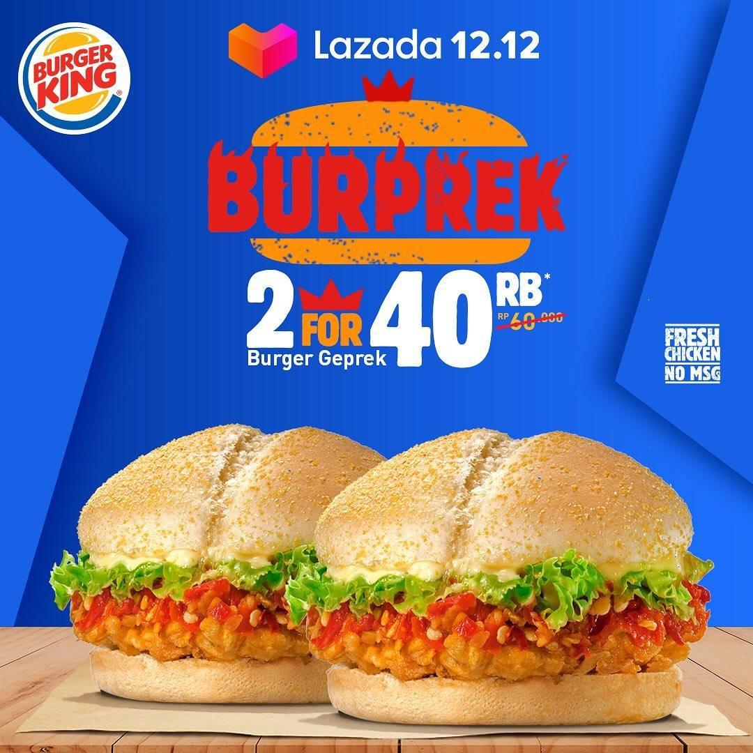 Promo diskon Burger King Promo Voucher Lazada 12.12