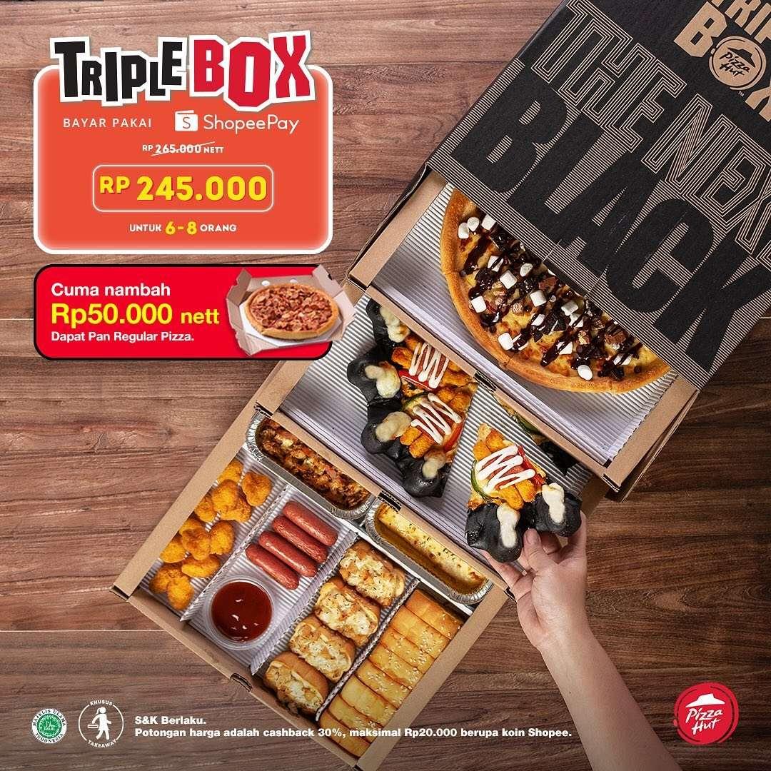 Diskon Pizza Hut Cashback 30% Triple Box Setiap Bayar Pakai Shopeepay