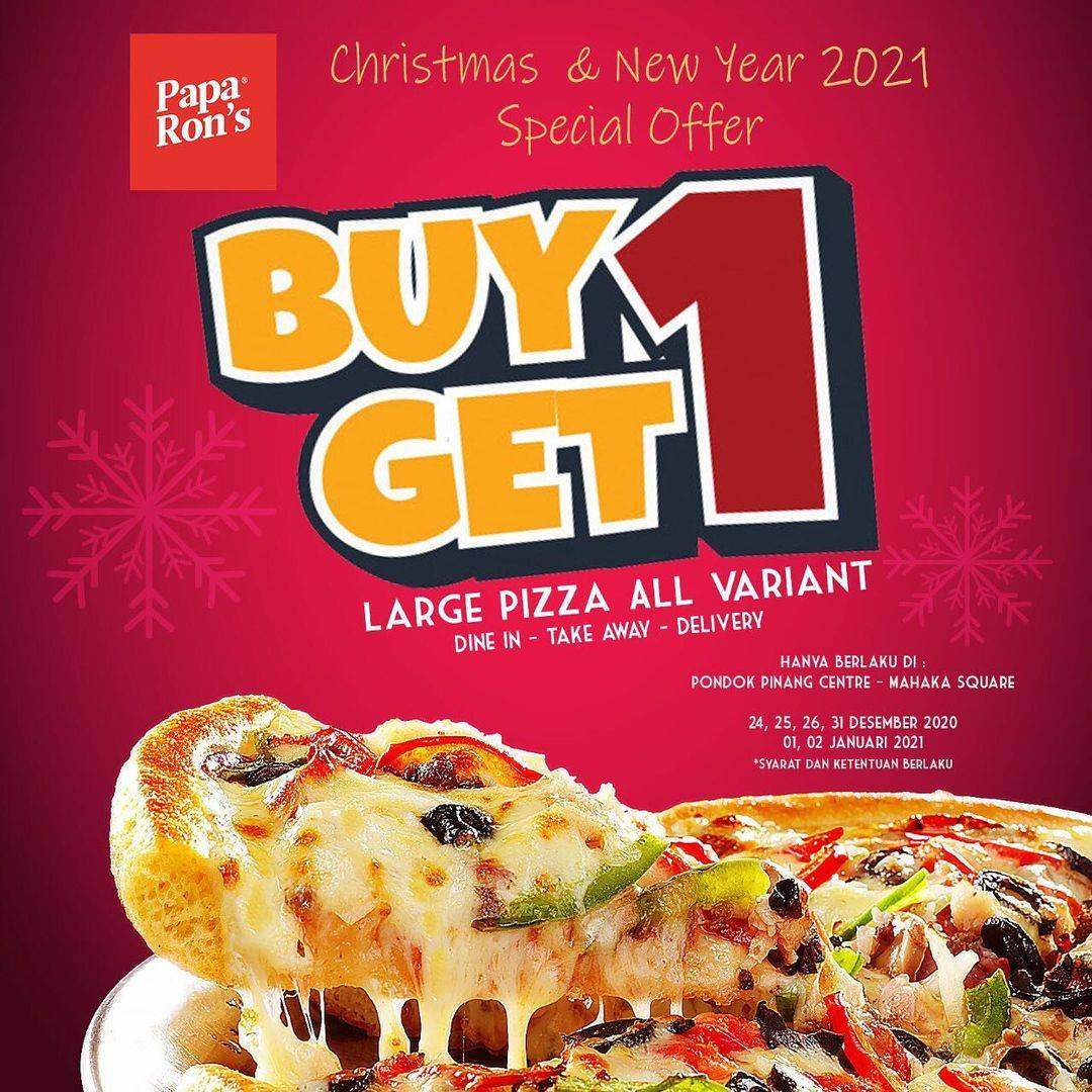 Diskon Paparons Buy 1 Get 1 Free Large Pizza