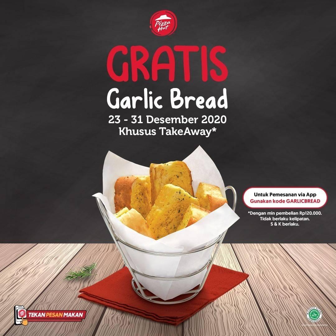 Diskon Pizza Hut Gratis Garlic Bread Khusus Pembelian Take Away
