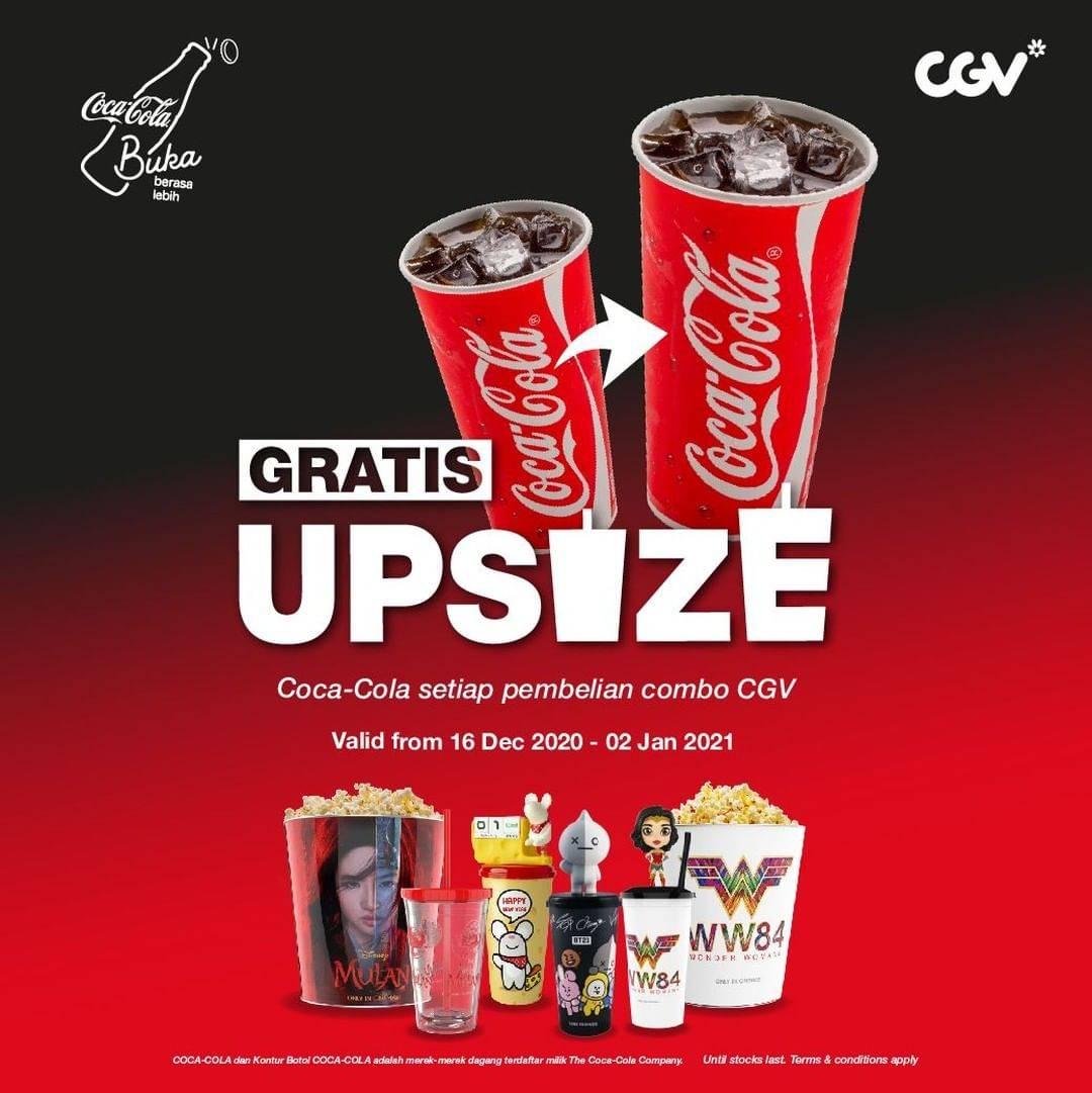 Diskon CGV Gratis Upsize Coca Cola Setiap Pembelian Combo CGV