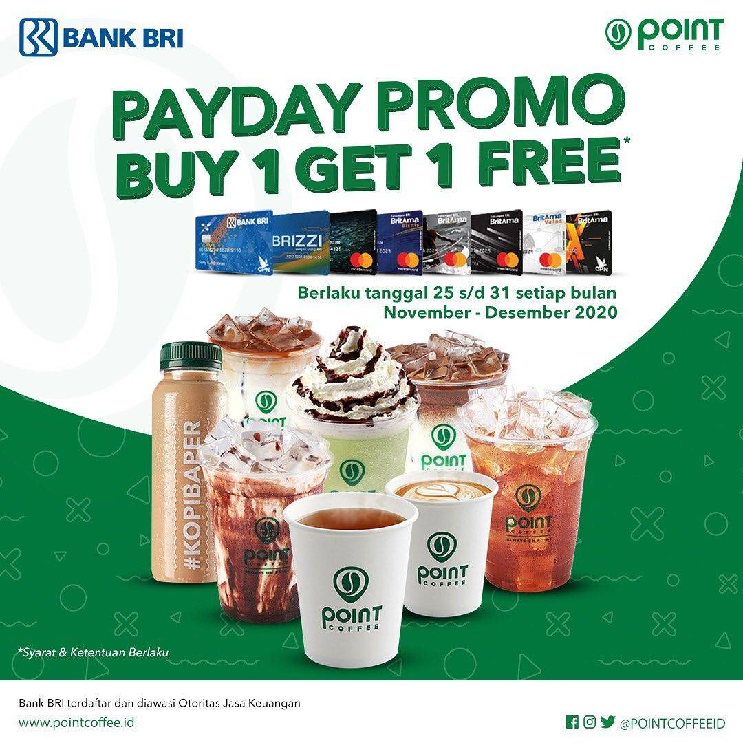 Diskon Point Coffee Buy 1 Get 1 Free Dengan Kartu Debit BRI/BRIZZI
