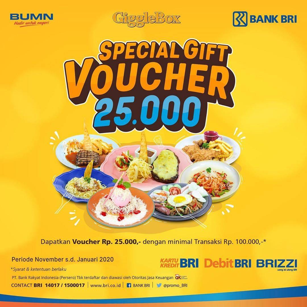 Giggle Box Promo Gratis Voucher Rp. 25.000 Transaksi Menggunakan Kartu BRI