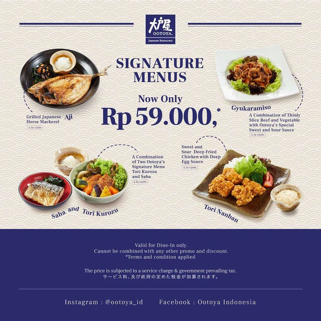 Ootoya Promo Signatue Menus Now Only IDR 59.000