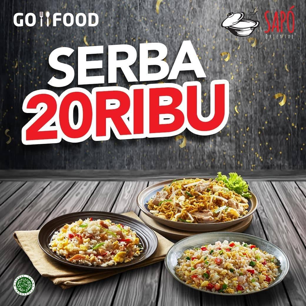 Sapo Oriental Promo Serba Rp. 20 Ribu Untuk Menu Pilihan Pembelian melalui Gofood