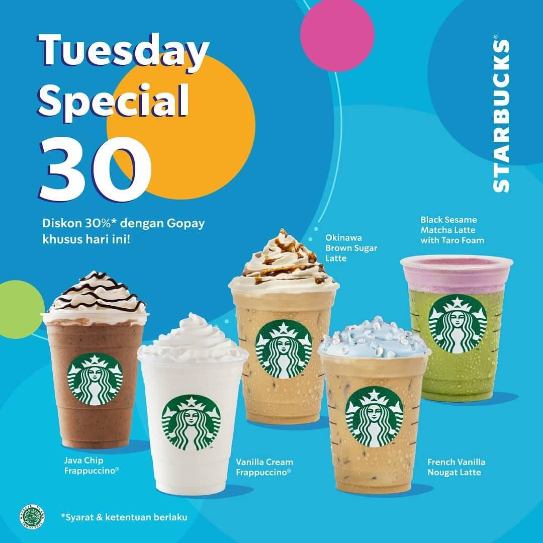 Starbucks Promo Diskon 30% Dengan Pembayaran Melalui Gopay