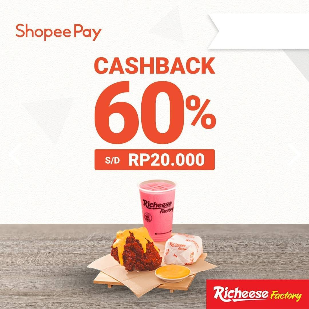 Richeese Factory Promo Cashback 60% Via Shopee Pay