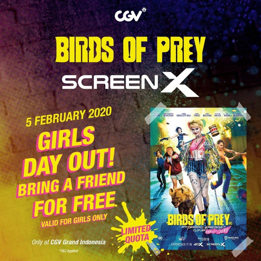 CGV Promo Beli 1 Gratis 1 Tiket ScreenX Untuk Film Birds Of Prey