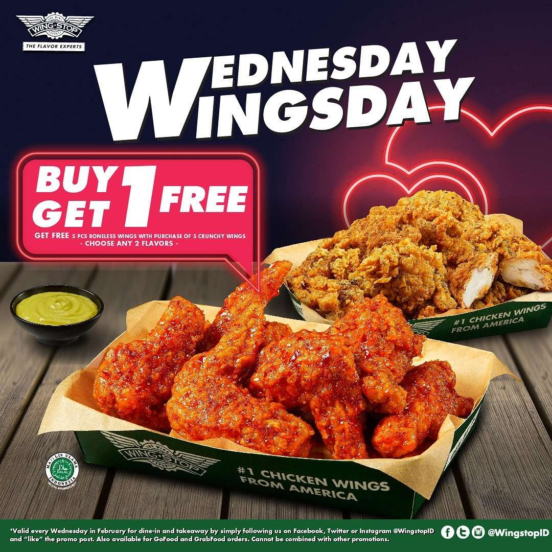 Wingstop Promo Wednesday Wingsday, Buy 1 Get 1 Free