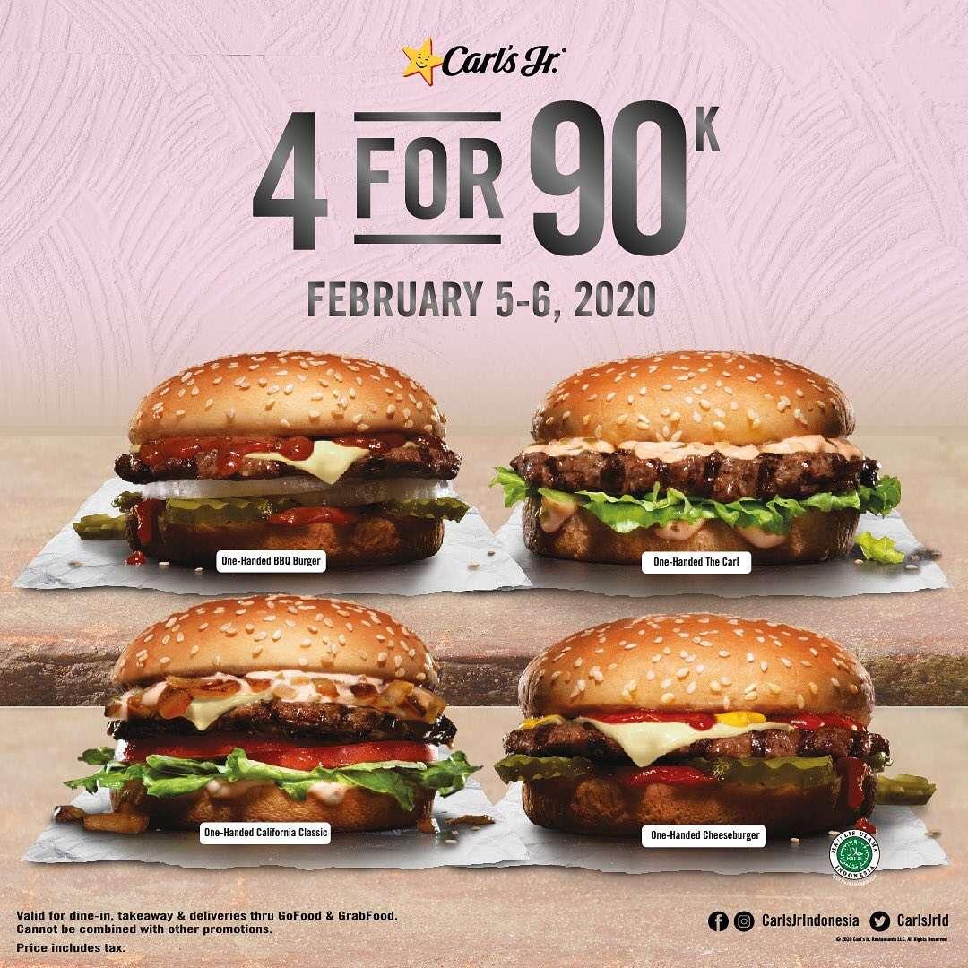 Carls Jr Promo 4 For 90K For Selected Menu