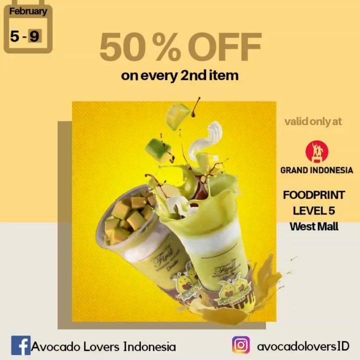 Diskon Avocado Lovers Promo Diskon 50% Untuk Pembelian Kedua