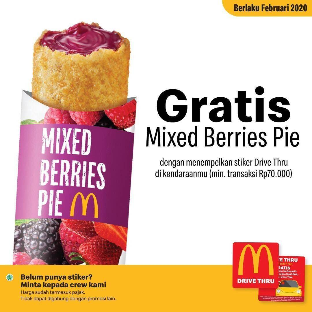 McDonald's Promo Gratis Mixed Berries Pie Setiap Pemesanan Melalui Drive Thru