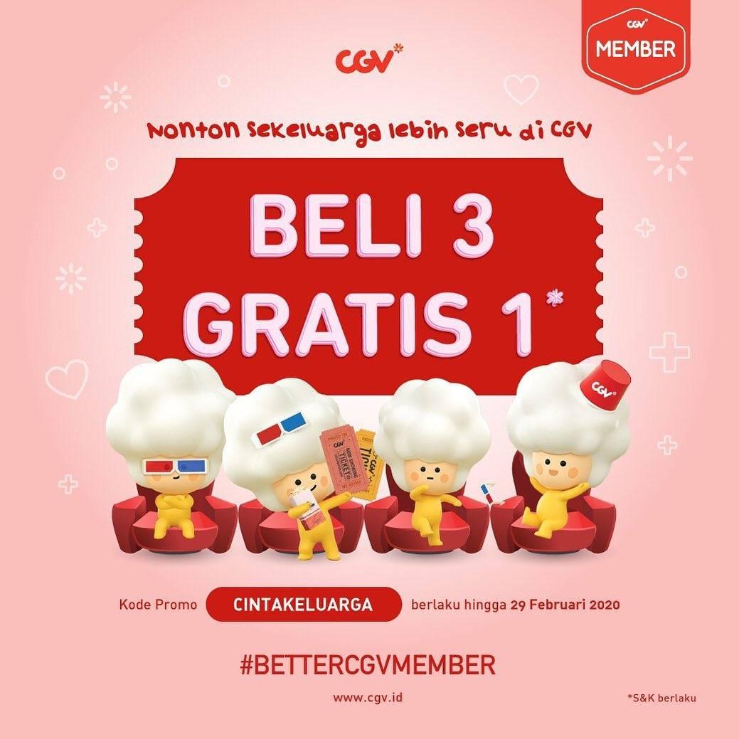 CGV Promo Beli 3 Gratis 1 Dengan Menggunakan CGV Member