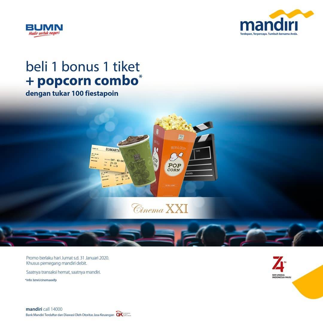 Cinema XXI Promo Buy 1 Get 1 + Free Popcorn Combo Package With 100 Fiesta Poin