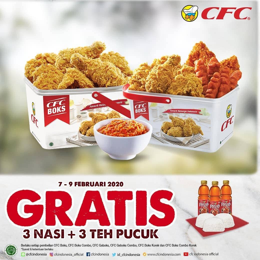 CFC Promo Harga Spesial Menu Boks Mulai Dari Rp. 128.181 Dan Gratis 3 Nasi Dan 3 Teh Pucuk Harum