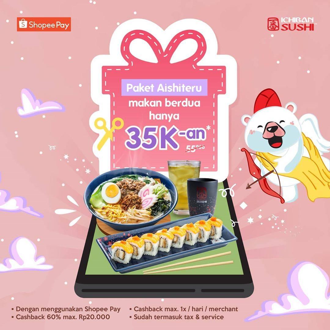 Diskon Ichiban Sushi Promo Paket Aishiteru Makan Berdua Hanya Rp. 35.000 Dengan Shopee Pay