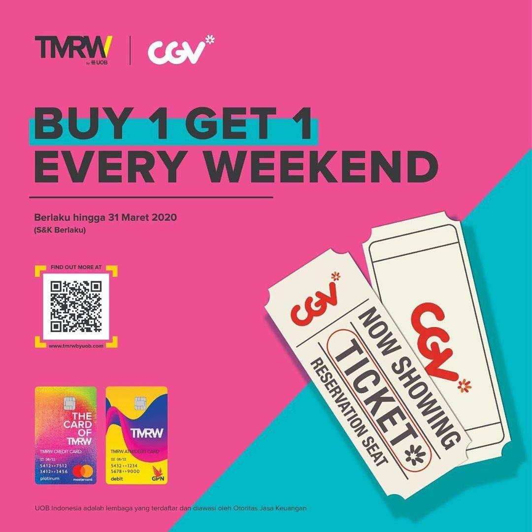 Diskon CGV Promo Beli 1 Gratis 1 Tiket Film Pembelian Menggunakan Kartu Debit Atau Kredit TMRW Dari UOB