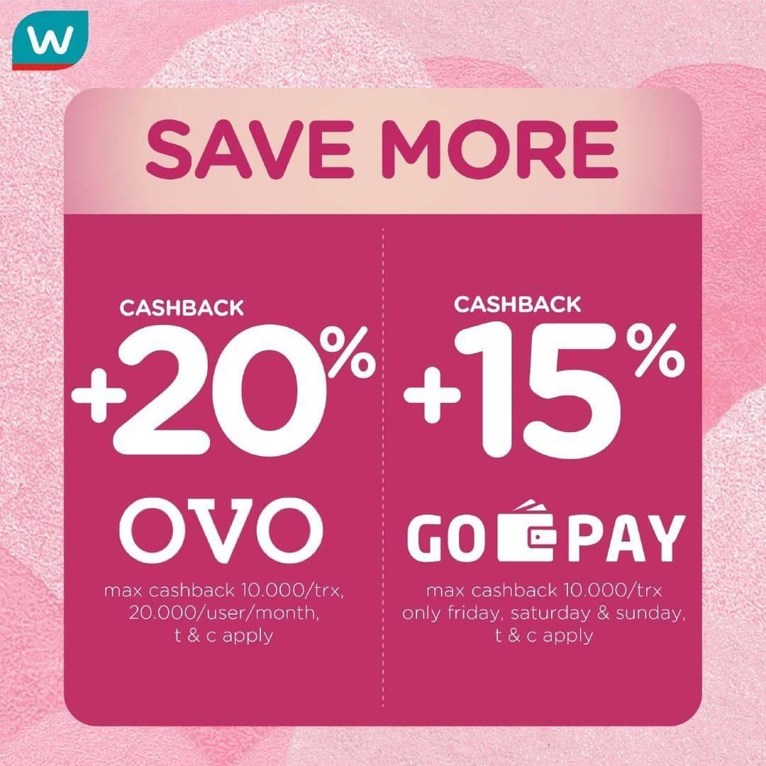 Watsons Promo Cashback 20% & 15% Pembayaran Mengggunakan OVO & Gopay