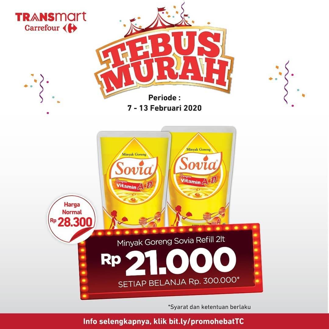 Transmart Carrefour Promo Tebus Murah Minyak Goreng Sovia Refill 2lt Hanya Rp. 21.000