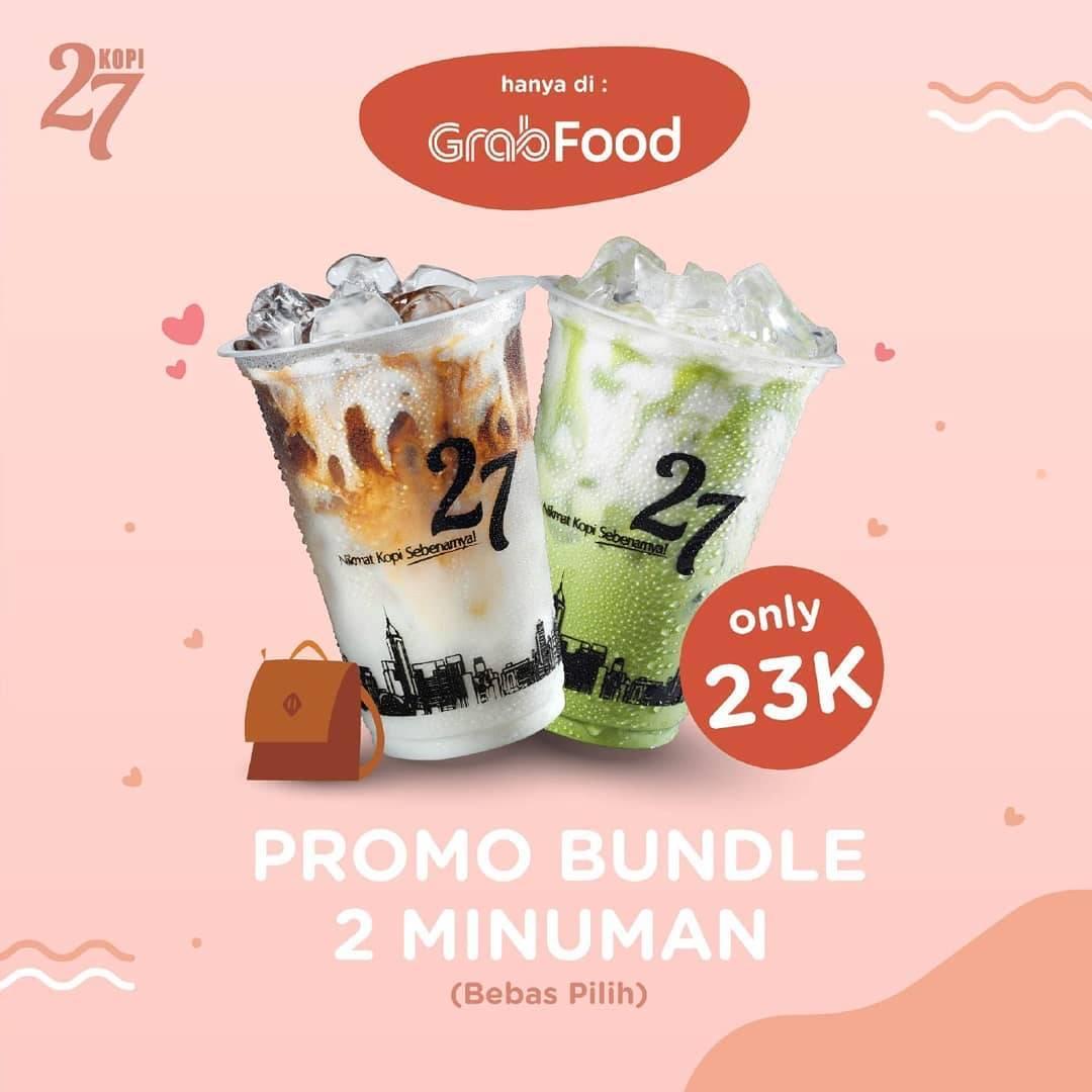 Kopi 27 Promo Bundle 2 Minuman All Variant Cuma Rp. 23.000 Transaksi Dengan Grab Food