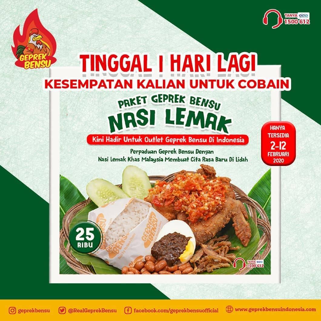 Geprek Bensu Promo Menu Baru Paket Nasi Lemak Dengan Harga Rp. 25.000