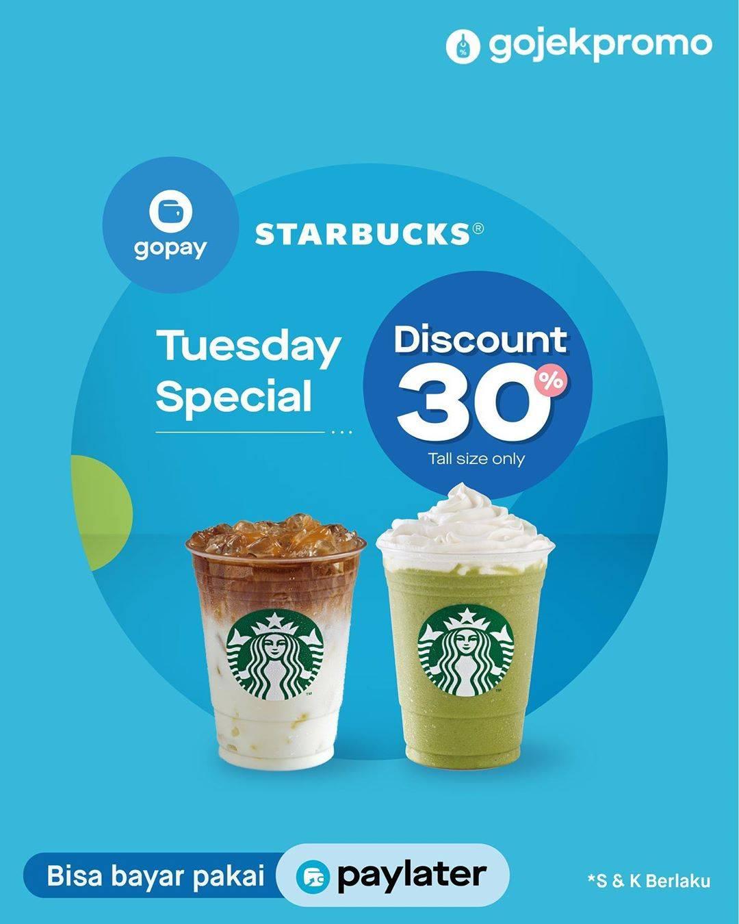 Diskon Starbucks Promo Spesial Hari Selasa, Diskon 30% Transaksi Melalui Gopay