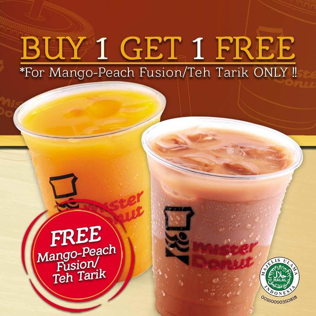 Mister Donut Promo Buy 1 Get 1 Free Minuman Pilihan